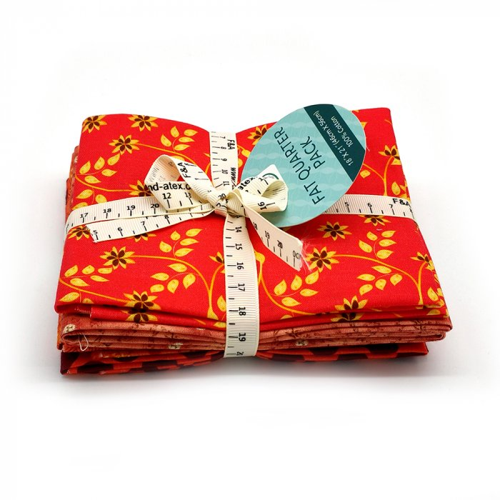 5 Piece Fat Quarter Bundle Red Multicoloured 46 x 56 cm